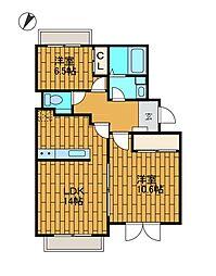 ここち野8号棟[3階]の間取り