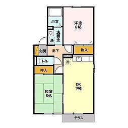 茨城県那珂市中台の賃貸アパートの間取り