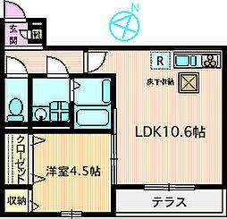 レジデンスSAKURAMORI[102号室]の間取り