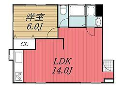 千葉県八街市希望ヶ丘の賃貸アパートの間取り