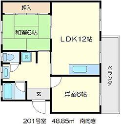 粟生第二住宅 20棟[2階]の間取り