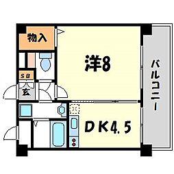 セレーノルーチェ 2階1DKの間取り