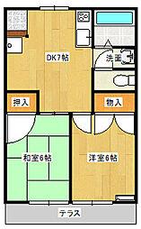 千葉県鎌ケ谷市道野辺中央4丁目の賃貸アパートの間取り