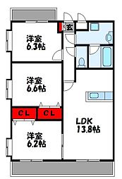 JR鹿児島本線 千鳥駅 徒歩20分の賃貸マンション 3階3LDKの間取り