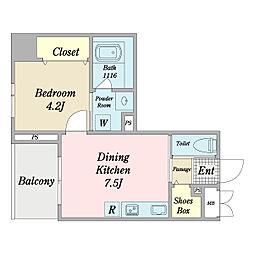 リーフス 3階1DKの間取り