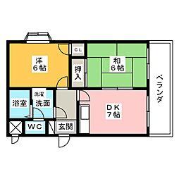 ミリアーゼII稲沢[2階]の間取り