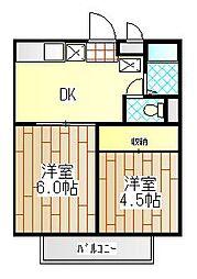 神奈川県海老名市中央1丁目の賃貸アパートの間取り