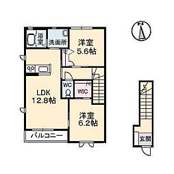 メゾンシャルムA・B棟[A201 号室号室]の間取り