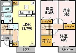 [テラスハウス] 岡山県倉敷市林丁目なし の賃貸【/】の間取り