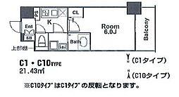 エスリード新福島 5階1Kの間取り