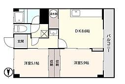 アシスト函館ヒルズB 4階2DKの間取り