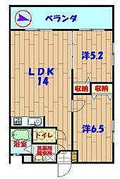 沖縄県うるま市田場163番地の賃貸アパート 3階2LDKの間取り