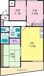 樋川フラット[4階]の間取り
