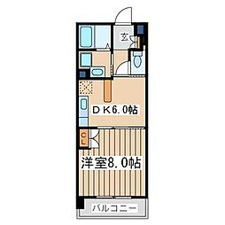 カーサ・ビーンズ(駅近、オートロック付、日当たり良好)[2階]の間取り