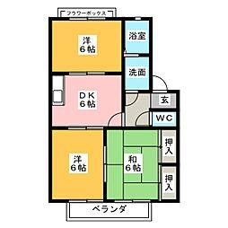 愛知県知多市八幡新町2丁目の賃貸アパートの間取り