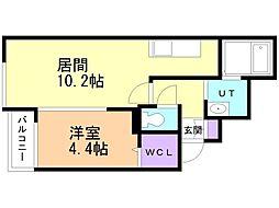 仮)サリーレ新札幌A 2階1LDKの間取り