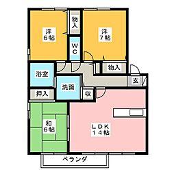 ビーンズビレッジ B棟[2階]の間取り