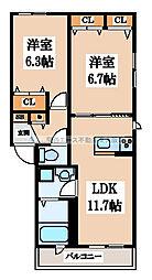 シャーメゾン長堂[2階]の間取り