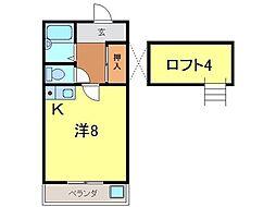 愛知県高浜市本郷町2丁目の賃貸アパートの間取り