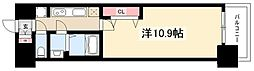 プレサンス丸の内リラティ 10階1Kの間取り