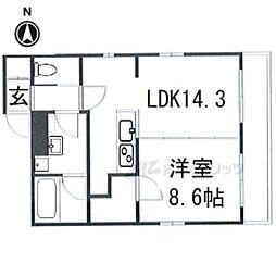 ARTISTA御所西ドゥーエ 4階1LDKの間取り