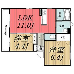 千葉県四街道市もねの里4丁目の賃貸アパートの間取り