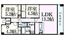 摩耶コート壱番館 5階3LDKの間取り