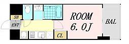 エステムコート難波サウスプレイス6ラグジー 3階1Kの間取り