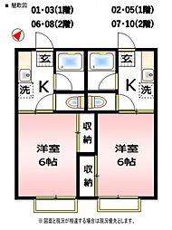 第2コーポ萩山[6号室号室]の間取り