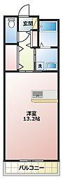 磐田ヒルズIII 2階ワンルームの間取り