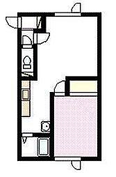 バードヒルハイツA・B棟 1階1LDKの間取り