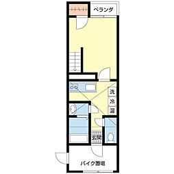 新潟県新潟市中央区紫竹5丁目の賃貸アパートの間取り