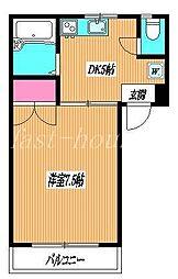 JR中央線 武蔵境駅 徒歩12分の賃貸マンション 2階1DKの間取り