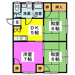 福岡県福岡市博多区月隈1丁目の賃貸アパートの間取り