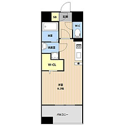 JR鹿児島本線 吉塚駅 徒歩5分の賃貸マンション 8階ワンルームの間取り