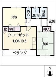 なるみグリーンコーポ4号棟[4階]の間取り