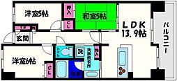 大阪府大阪市都島区毛馬町2丁目の賃貸マンションの間取り