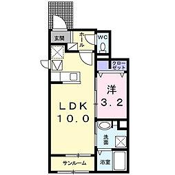 JR中央本線 竜王駅 徒歩29分の賃貸アパート 1階1LDKの間取り