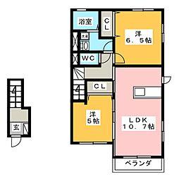 ラ・カーザ・ドルチェ B棟[2階]の間取り