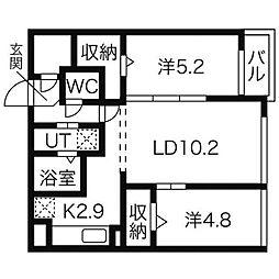 北海道札幌市西区琴似一条3丁目の賃貸マンションの間取り