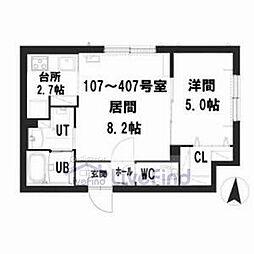 札幌市営東豊線 豊平公園駅 徒歩7分の賃貸マンション 4階1LDKの間取り