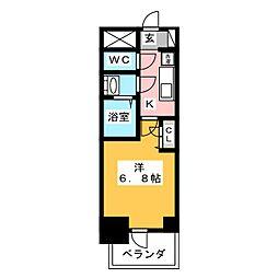 プレサンス名古屋幅下ファビュラス 8階1Kの間取り