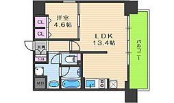 阪急神戸本線 中津駅 徒歩7分の賃貸マンション 8階1LDKの間取り