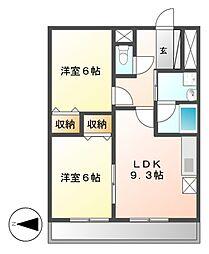 ディアコートA[9階]の間取り
