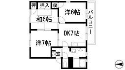 パークハイツA・B棟[2階]の間取り