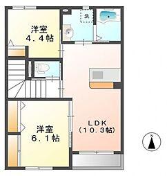 埼玉県熊谷市別府3丁目の賃貸アパートの間取り