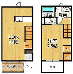 JR久大本線 久留米高校前駅 徒歩28分の賃貸アパート 1階1LDKの間取り