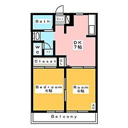 ディアスクレール A[1階]の間取り