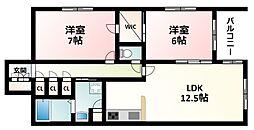 Osaka Metro御堂筋線 東三国駅 徒歩5分の賃貸マンション 2階2LDKの間取り
