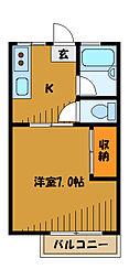 東京都国立市西の賃貸アパートの間取り